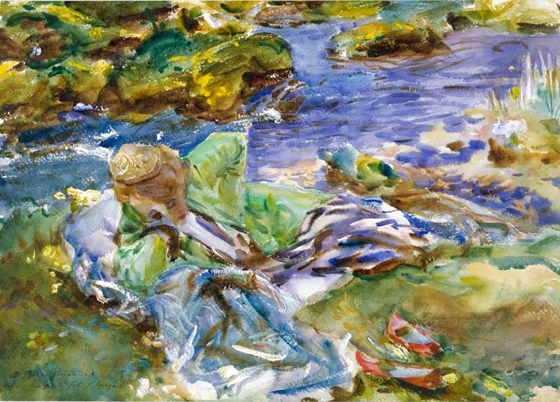 John Singer Sargent - A Turkish Woman By A Stream