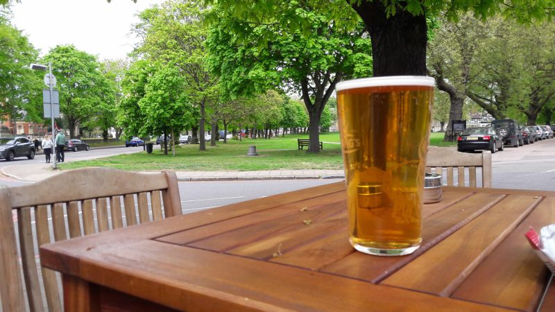 Urban walking. A pint of Youngs on Kew Green